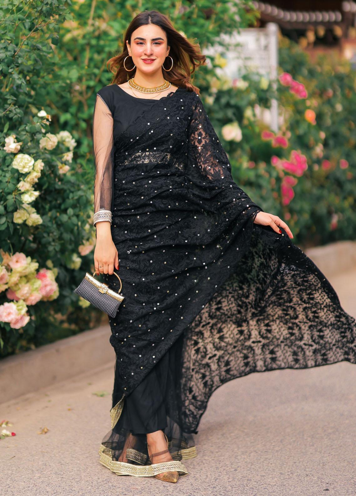 Sidra Mumtaz Luxury Pret Embroidered Net Saree MOONLESS NIGHT