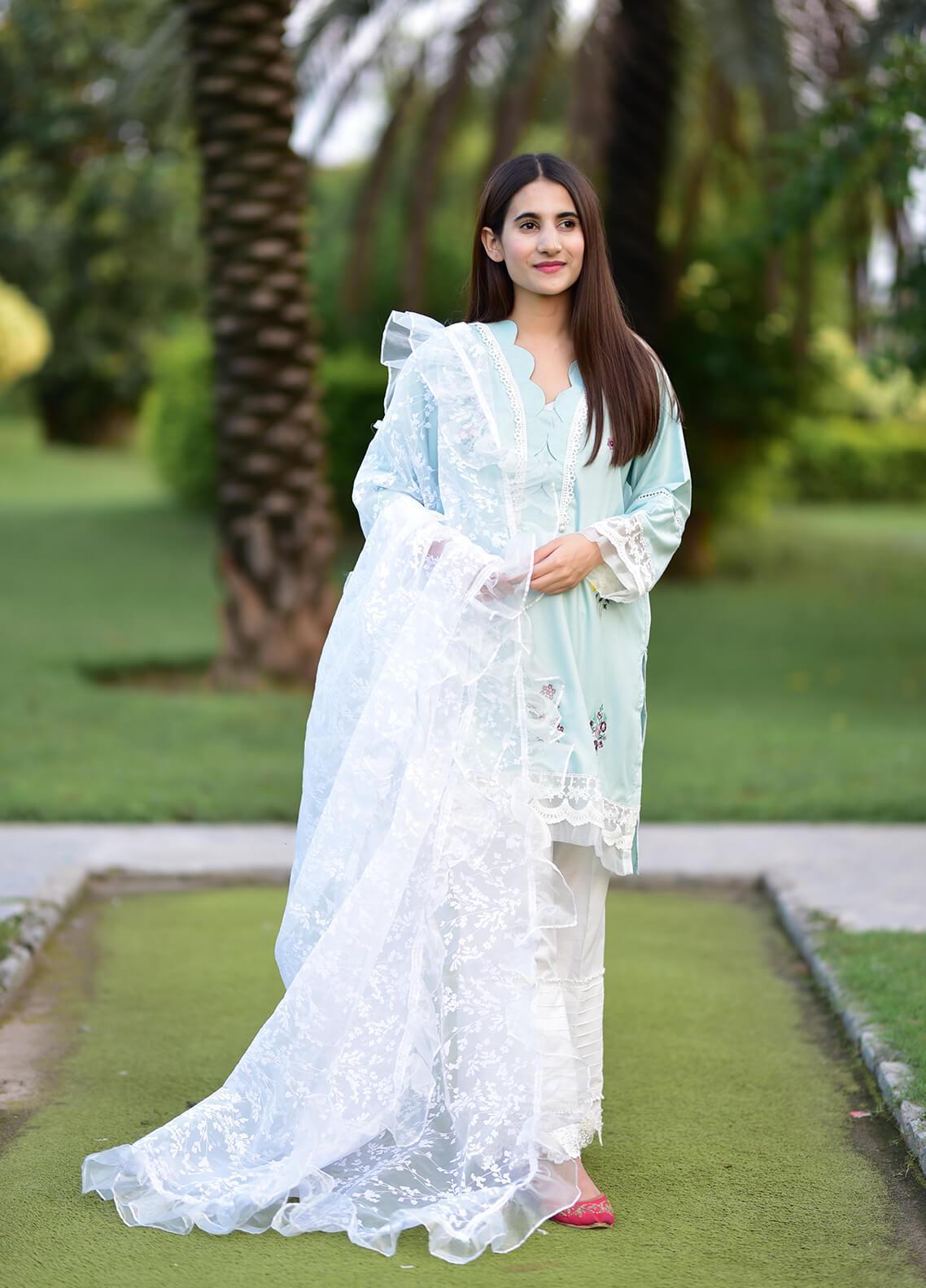 Sidra Mumtaz Embroidered Cotton Silk Stitched 3 Piece Suit APRIL BREEZE