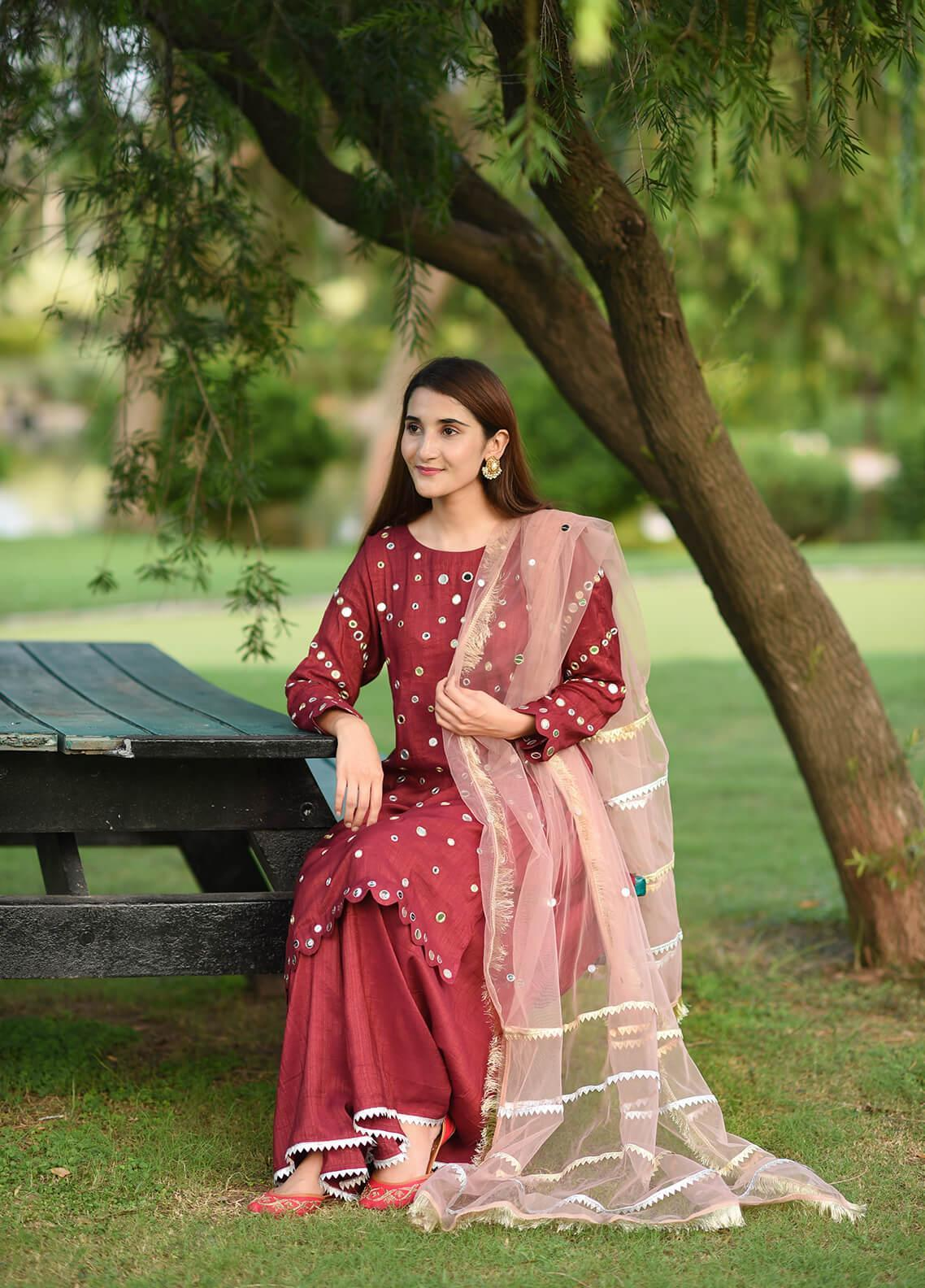 Sidra Mumtaz Embroidered Cotton Stitched 3 Piece Suit PLUM BREEZE