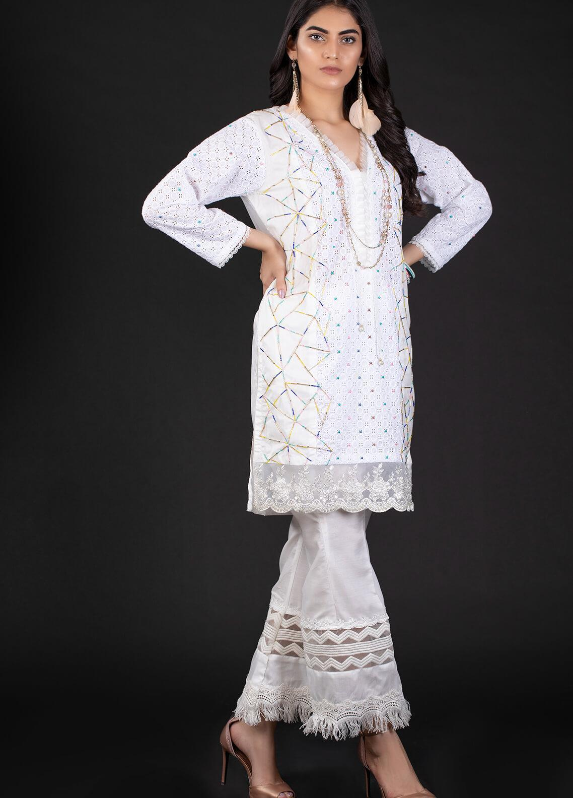 Sidra Mumtaz Embroidered Schiffli Stitched 2 Piece Suit 1A ASTRATTO