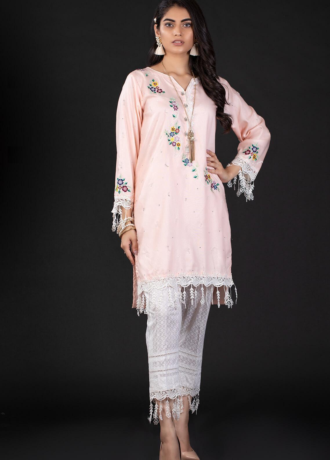 Sidra Mumtaz Embroidered Cotton Silk Stitched 2 Piece Suit 10 SWIRL