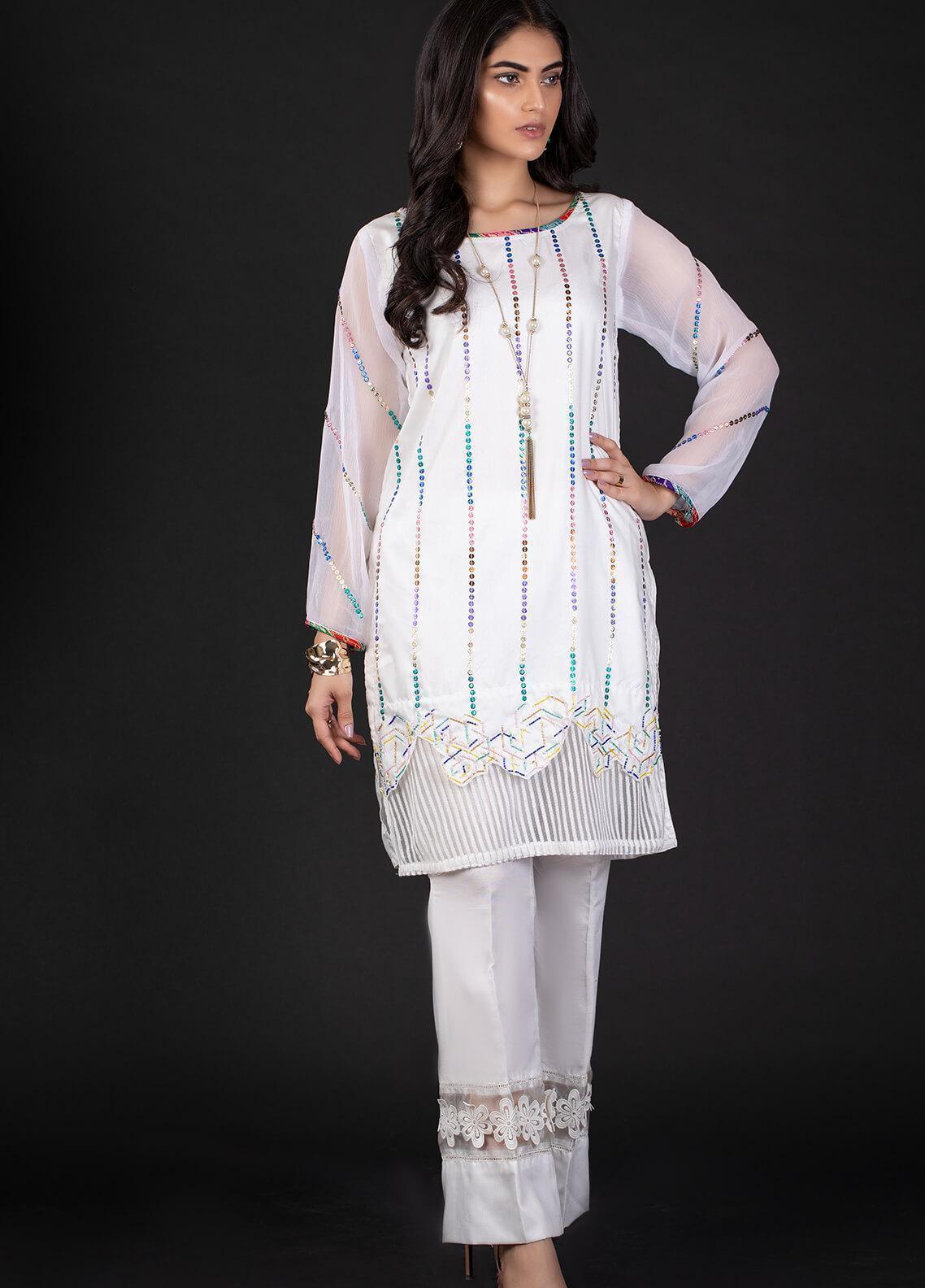 Sidra Mumtaz Embroidered Cotton Silk Stitched 2 Piece Suit 4B PUZZLE