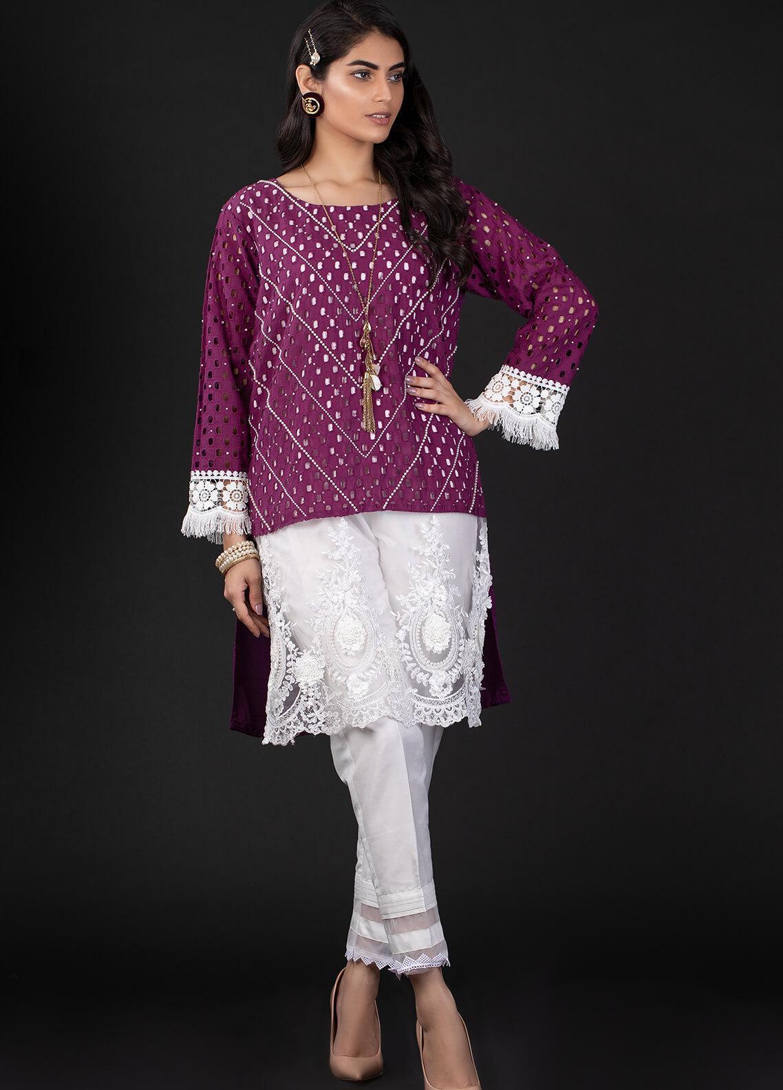 Sidra Mumtaz Embroidered Schiffli Stitched 2 Piece Suit 9 CHEVRON