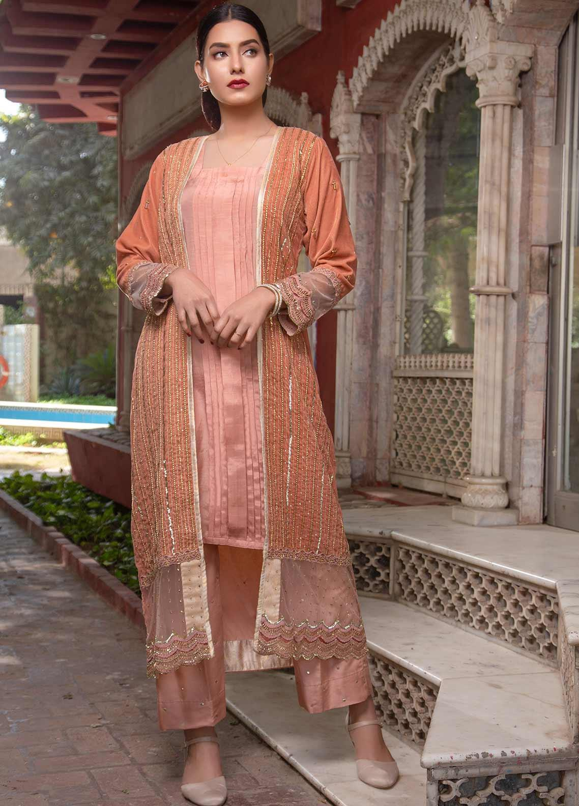 Sidra Mumtaz Embroidered Raw Silk Stitched 3 Piece Suit SM20GS 2101-GM-04 SARDONYX