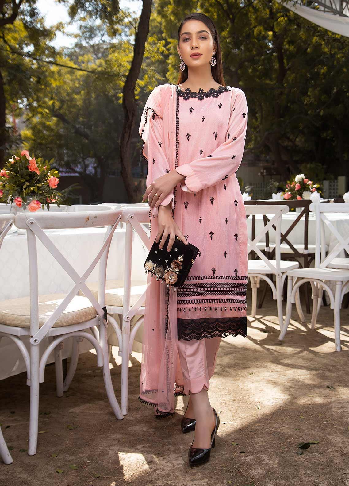 Sidra Mumtaz Embroidered Cotton Silk Stitched 3 Piece Suit SM20GS 2101-GM-07 ROSE QUARTZ