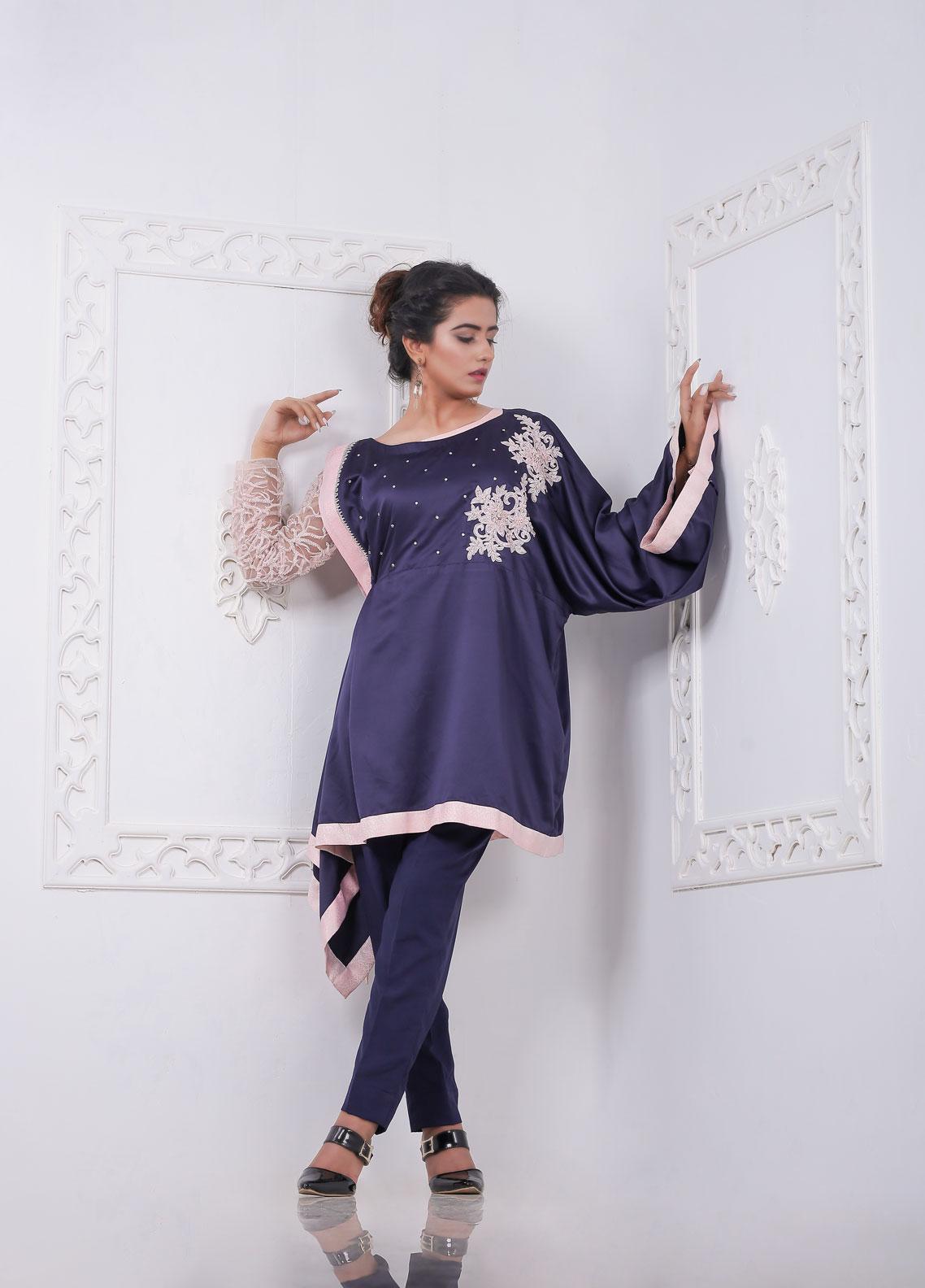 Sidra Mumtaz Embroidered Silk Stitched 2 Piece Suit 2002-ML-04 Midnight Light
