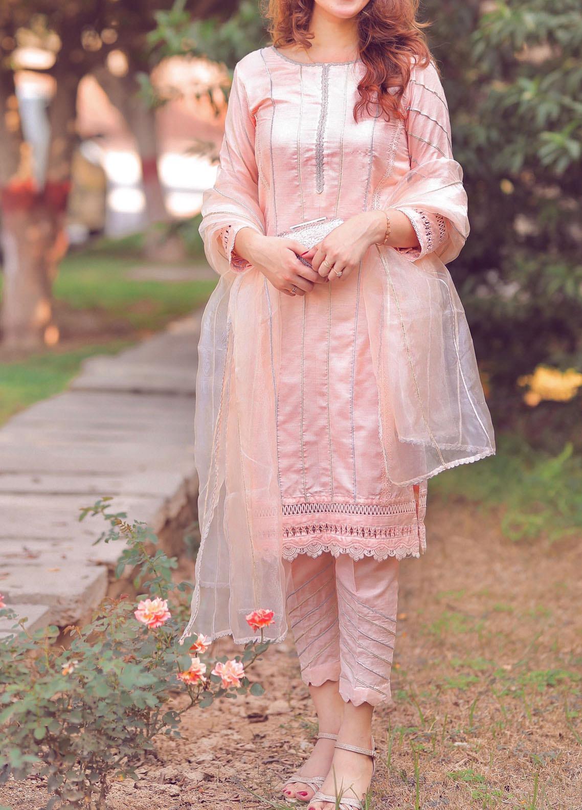 Sidra Mumtaz Embroidered Cotton Silk Stitched 3 Piece Suit SM20PD BLUSH PEACH