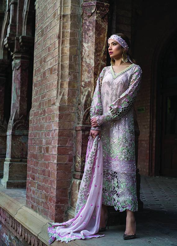 Saadia Mirza Embroidered Chiffon Unstitched 3 Piece Suit SM17C 04