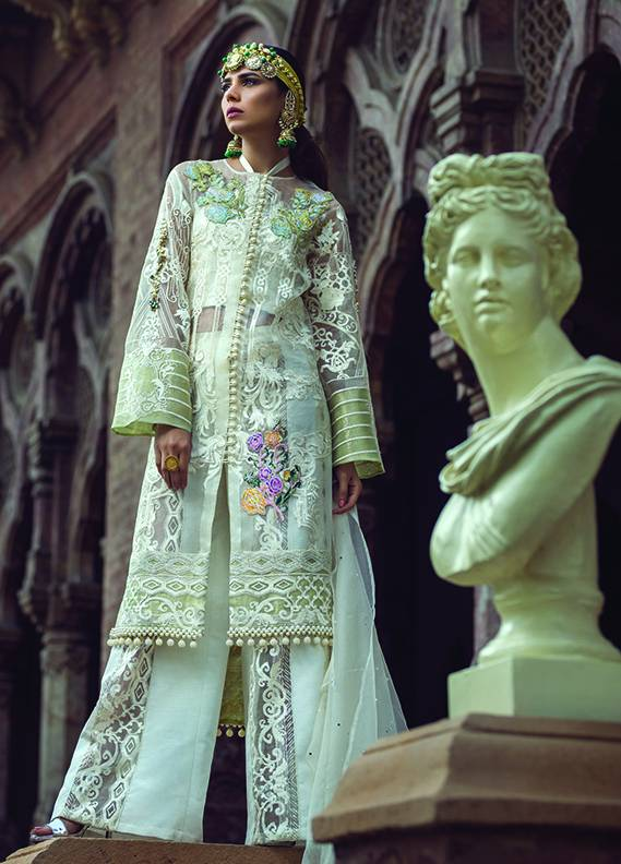 Saadia Mirza Embroidered Chiffon Unstitched 3 Piece Suit SM17C 10