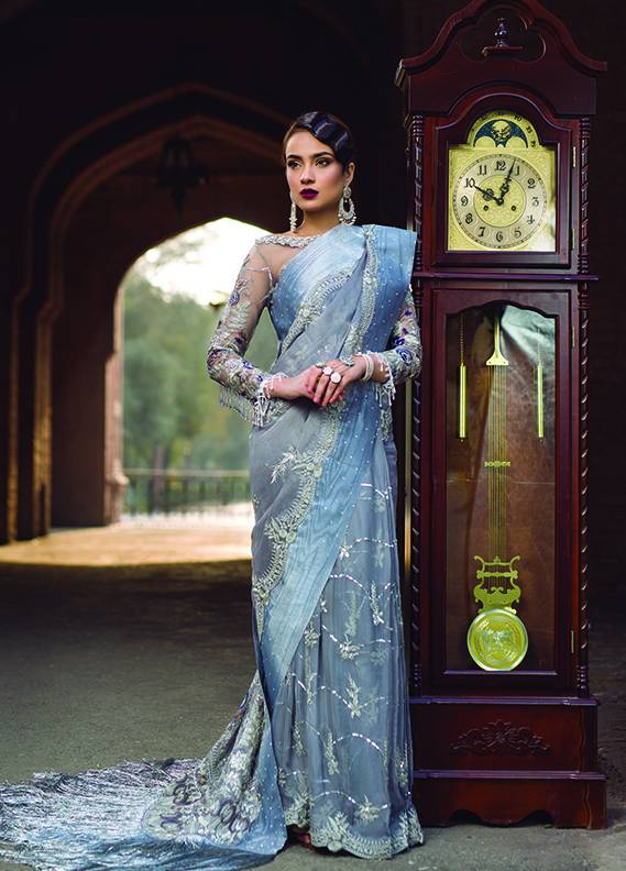 Saadia Mirza Embroidered Chiffon Unstitched 3 Piece Suit SM17C 11