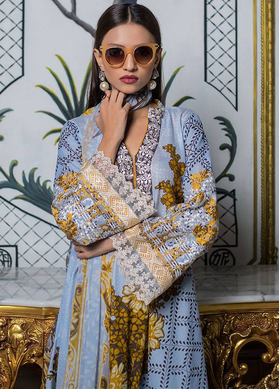 Summerina By LSM Embroidered Lawn Unstitched 3 Piece Suit SMR18L 10A - Spring / Summer Collection