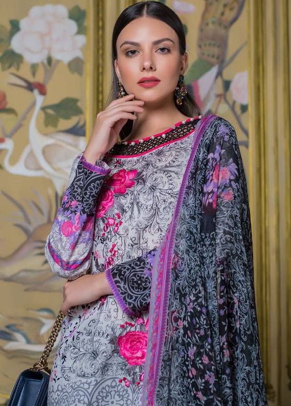Summerina By LSM Embroidered Lawn Unstitched 3 Piece Suit SMR18L 11B - Spring / Summer Collection