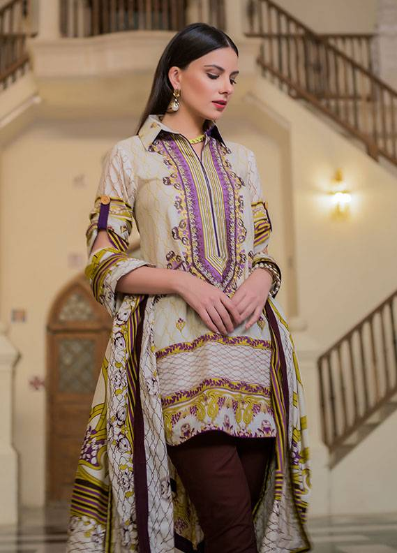 Summerina By LSM Embroidered Lawn Unstitched 3 Piece Suit SMR18L 12B - Spring / Summer Collection