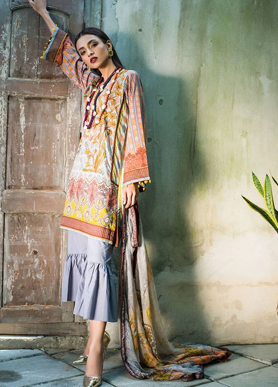 Summerina By LSM Embroidered Lawn Unstitched 3 Piece Suit SMR18L 3A - Spring / Summer Collection