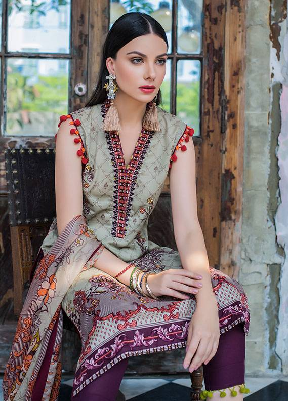 Summerina By LSM Embroidered Lawn Unstitched 3 Piece Suit SMR18L 5B - Spring / Summer Collection