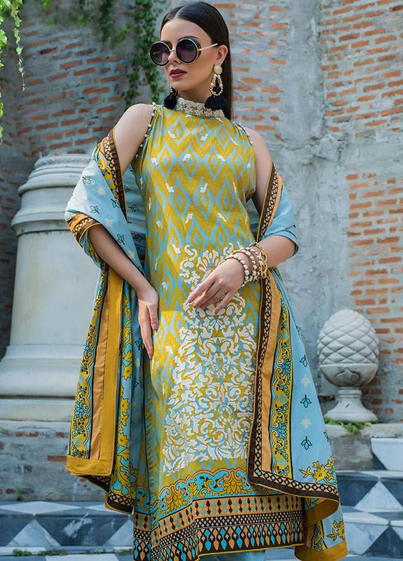 Summerina By LSM Embroidered Lawn Unstitched 3 Piece Suit SMR18L 7B - Spring / Summer Collection