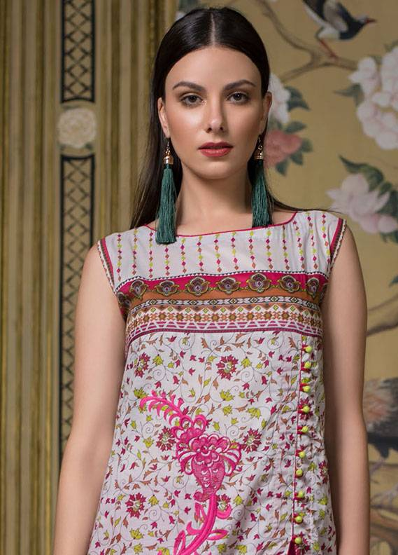 Summerina By LSM Embroidered Lawn Unstitched 3 Piece Suit SMR18L 8B - Spring / Summer Collection