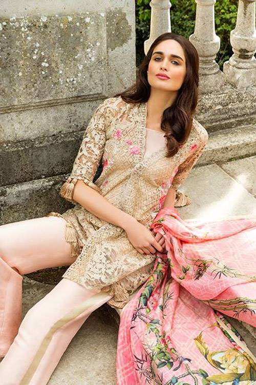 Sobia Nazir Embroidered Chiffon Unstitched 3 Piece Suit SN17E 06