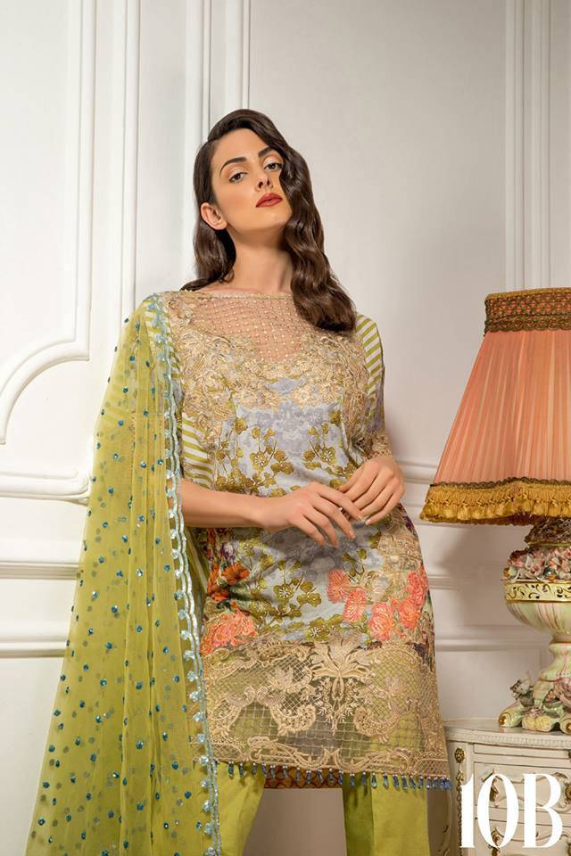 Sobia Nazir Embroidered Lawn Unstitched 3 Piece Suit SN17L 10B