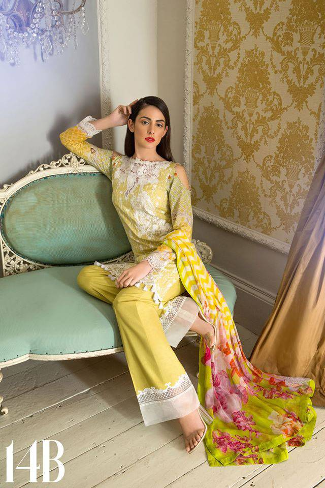 Sobia Nazir Embroidered Lawn Unstitched 3 Piece Suit SN17L 14B
