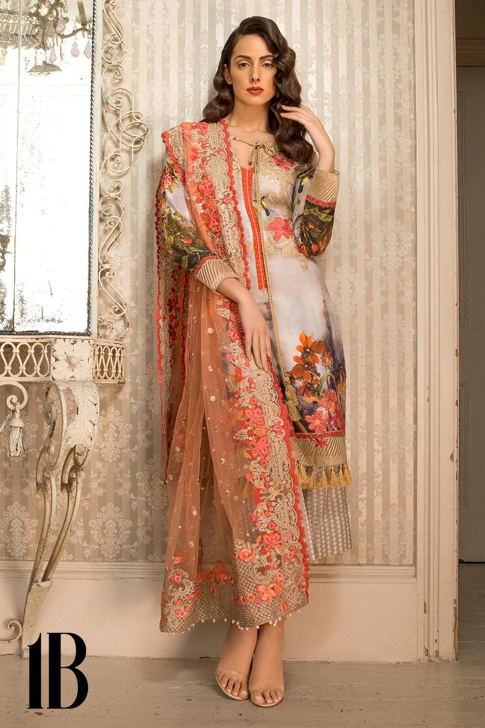 Sobia Nazir Embroidered Lawn Unstitched 3 Piece Suit SN17L 1B