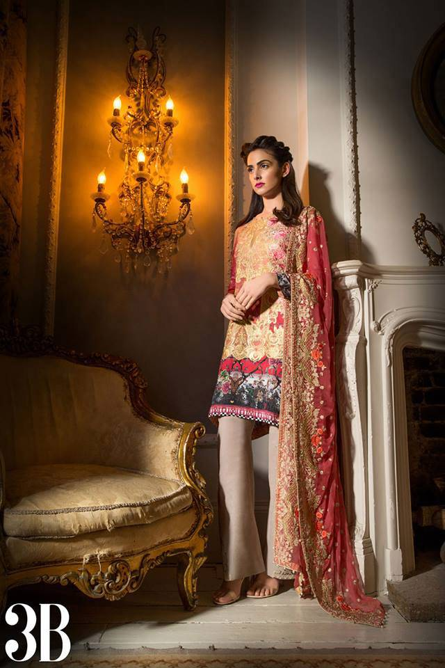 Sobia Nazir Embroidered Lawn Unstitched 3 Piece Suit SN17L 3B