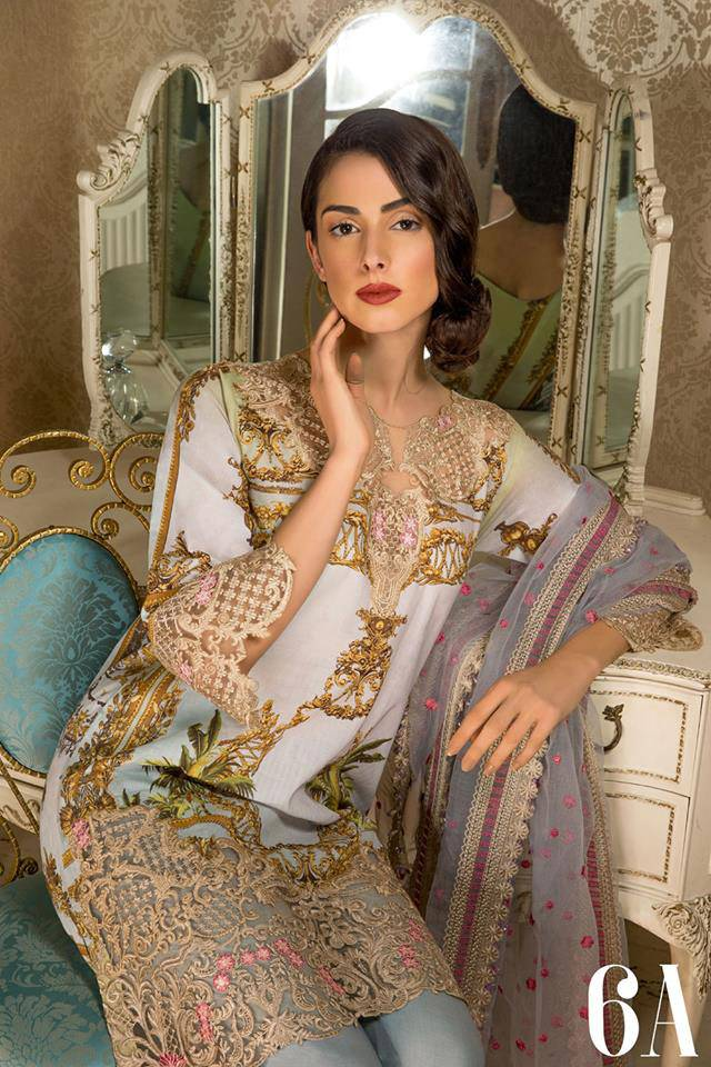 Sobia Nazir Embroidered Lawn Unstitched 3 Piece Suit SN17L 6A