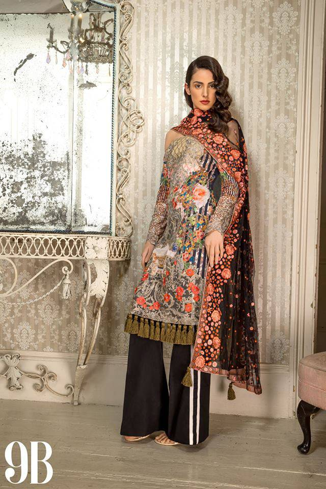 Sobia Nazir Embroidered Lawn Unstitched 3 Piece Suit SN17L 9B