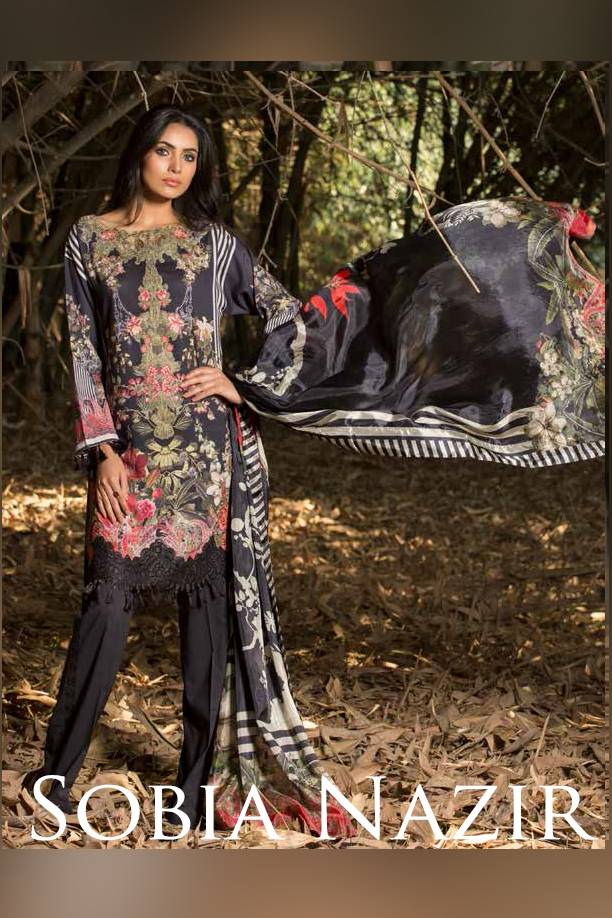 Sobia Nazir Embroidered Cotton Satin Unstitched 3 Piece Suit SN17W 01