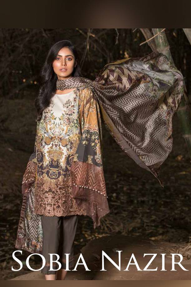 Sobia Nazir Embroidered Cotton Satin Unstitched 3 Piece Suit SN17W 04