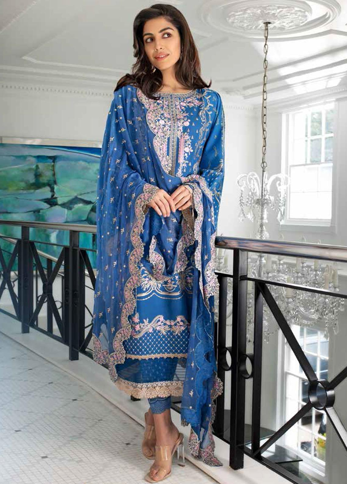 Sobia Nazir Embroidered Lawn Suits Unstitched 3 Piece SN21L 6A - Luxury Collection