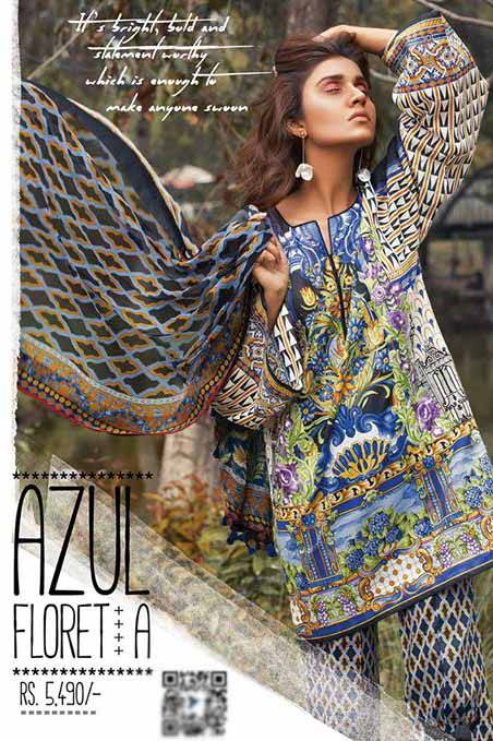 Sapphire Embroidered Lawn Unstitched Suit 3 Piece Suit SP17L2 Azul Floret A