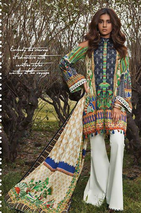 Sapphire Embroidered Lawn Unstitched Suit 3 Piece Suit SP17L2 Egyptian Echo A