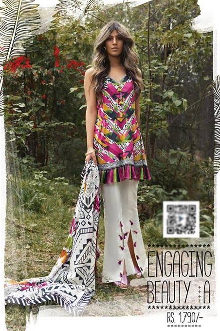 Sapphire Printed Lawn Unstitched Suit 2 Piece Suit SP17L2 Engaging Beauty A