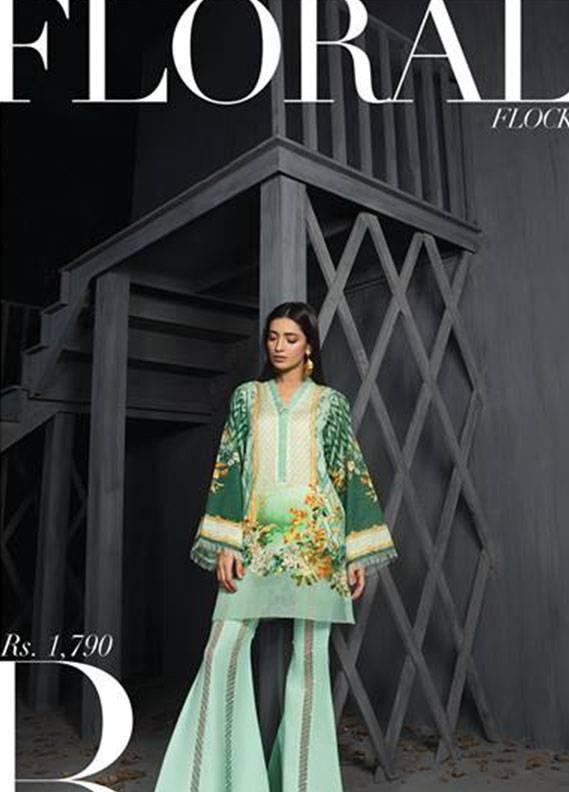Sapphire Printed Unstitched Suit SP17W2 Floral Flock B