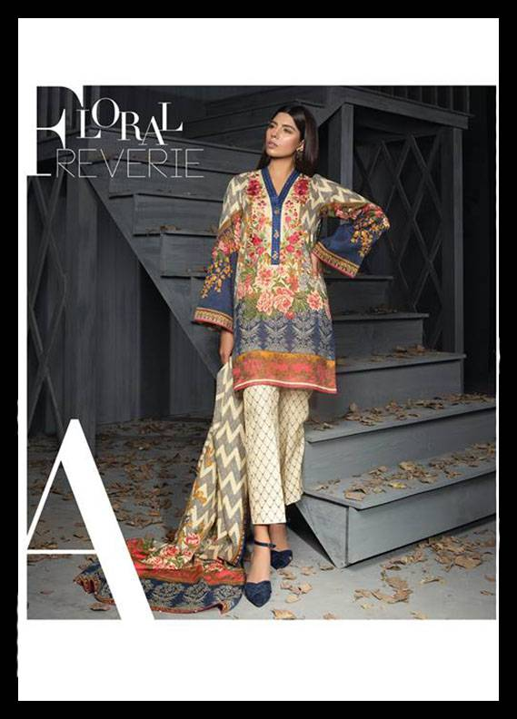 Sapphire Embroidered  Unstitched 3 Piece Suit SP17W2 Floral Reverie A