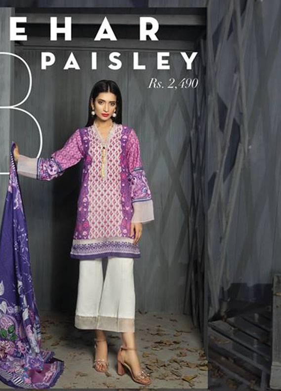 Sapphire Printed Khaddar Unstitched 3 Piece Suit SP17W2 Mehar Paisley B