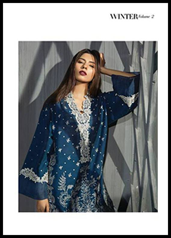 Sapphire Embroidered Khaddar Unstitched 2 Piece Suit SP17W2 Timeless Beauty B