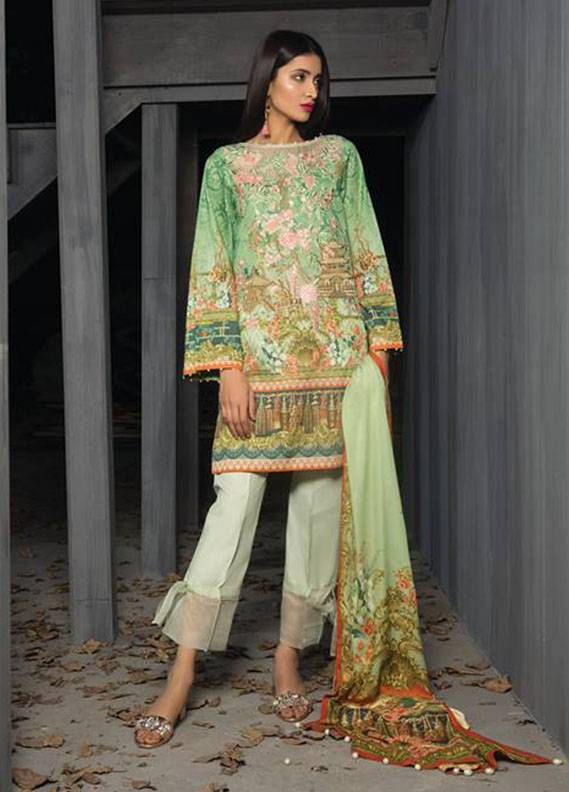 Sapphire Embroidered  Unstitched 3 Piece Suit SP17W2 Treasure Gild B