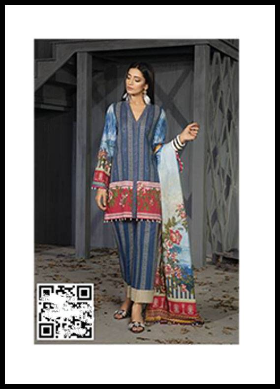 Sapphire Printed Khaddar Unstitched 3 Piece Suit SP17W2 Uzbek Garden B