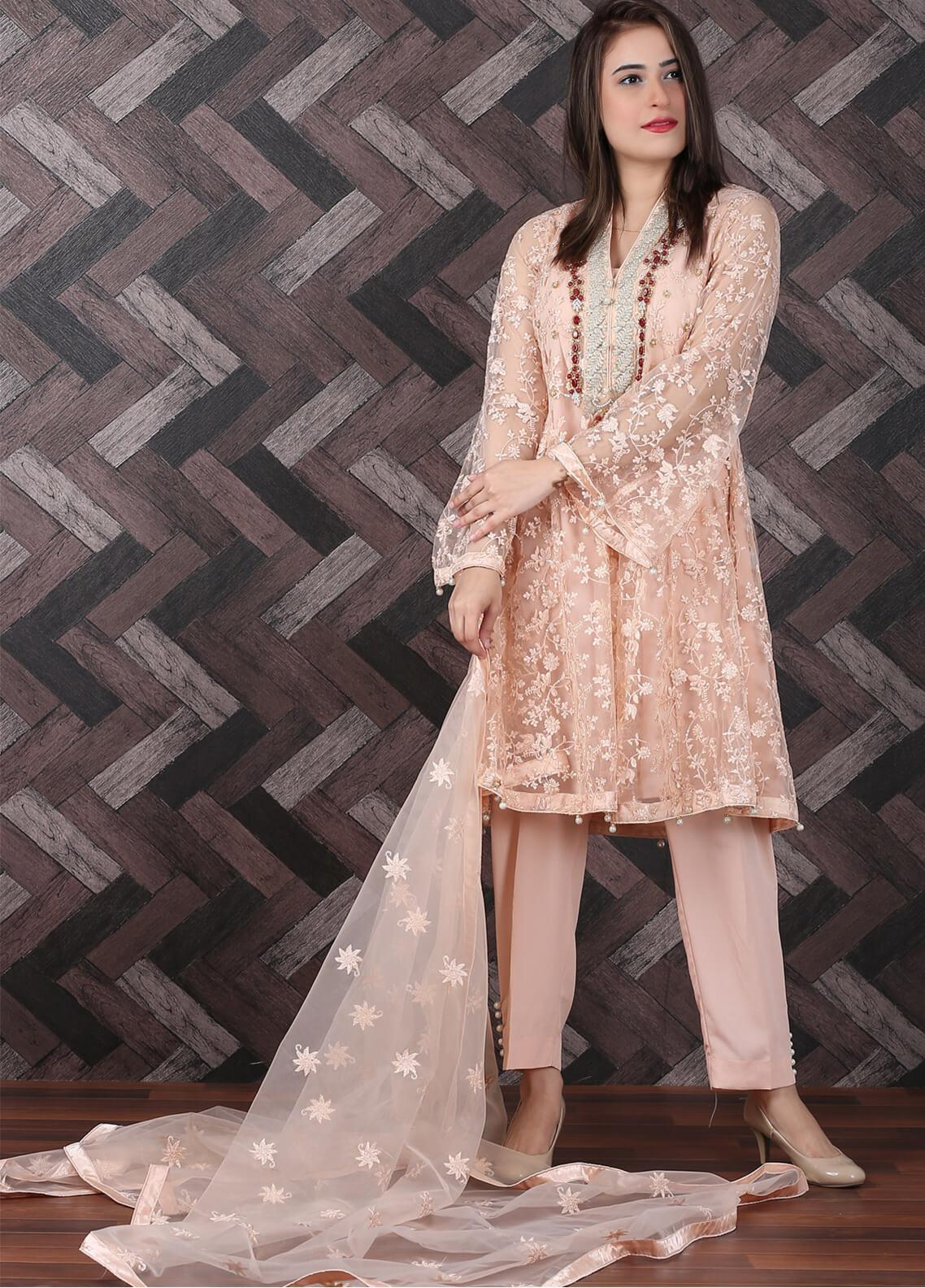 Spade Embroidered Zari Net Stitched 3 Piece Suit BNF-03