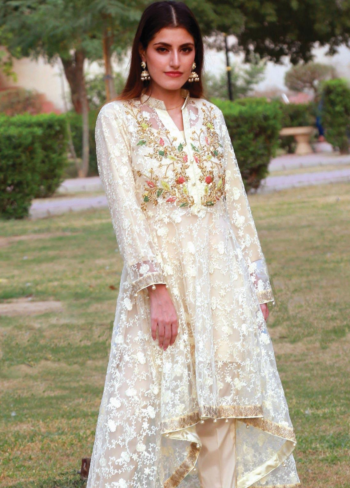 Spade Embroidered Zari Net Stitched 2 Piece Suit C7LYN-06 LIGHT YELLOW