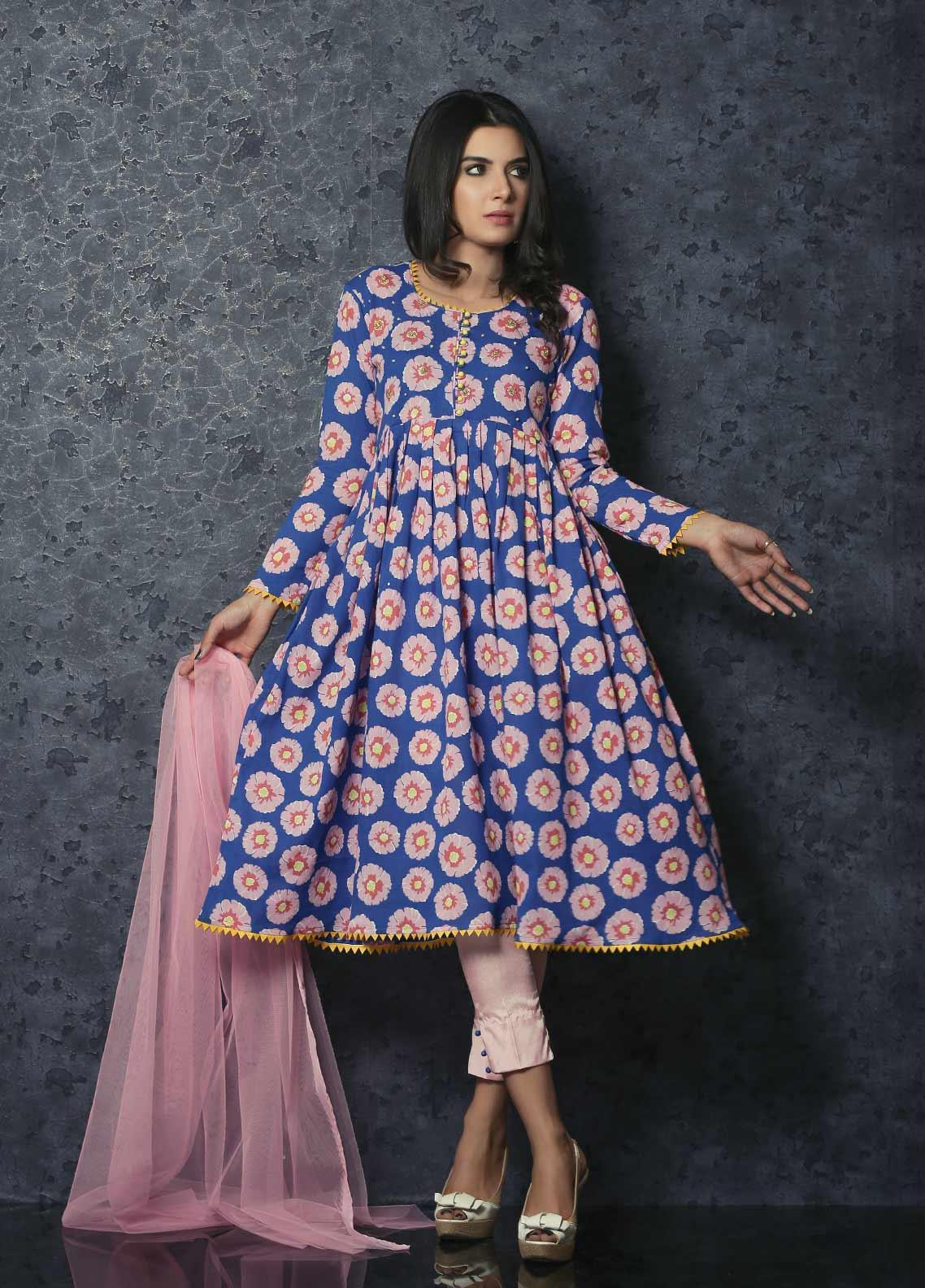 Spade Luxury Cotton Stitched Frock C9BC-10 BLUE