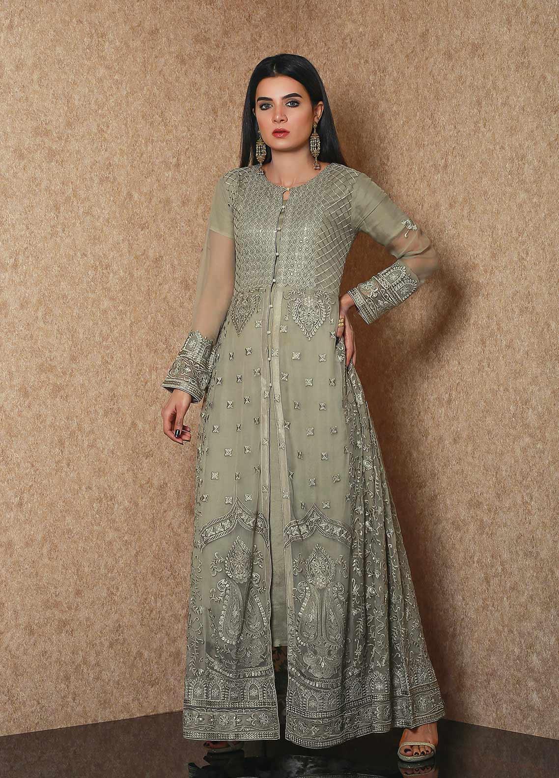 Spade Luxury Chiffon Stitched Gown C9DGC-12 DEEP GREEN