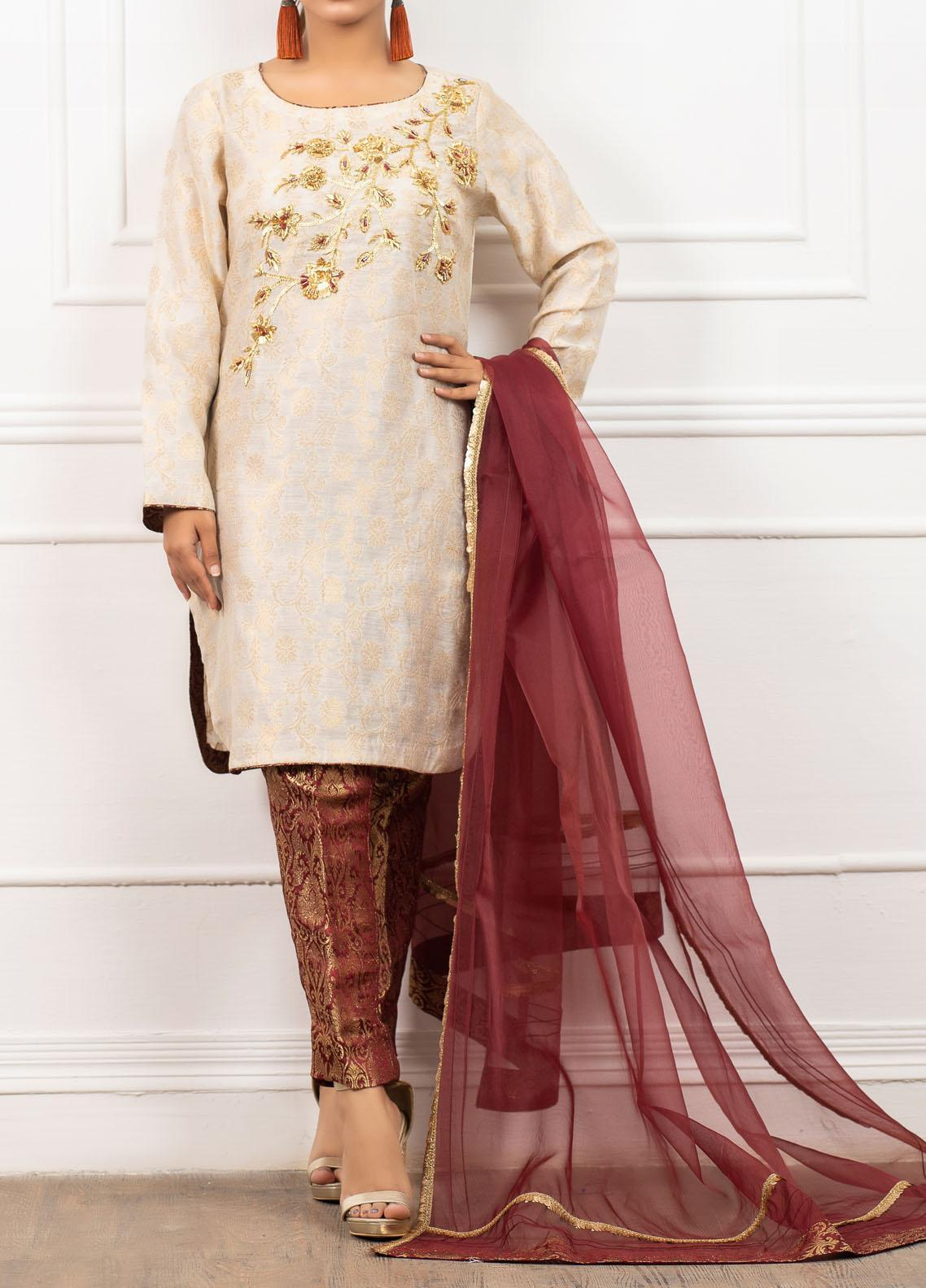 Spotlight Embroidered Jamawar Stitched 3 Piece Suit PEARL & BARRY