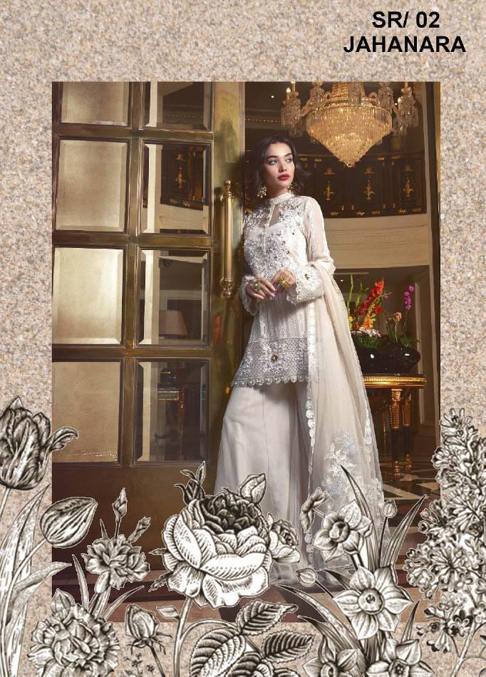 Saira Rizwan Embroidered Chiffon Unstitched 3 Piece Suit SR17E 02
