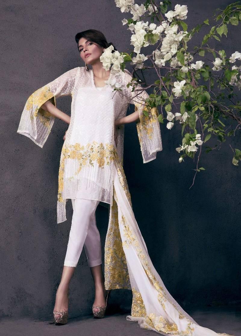 Sana Safinaz Embroidered Chiffon Unstitched 3 Piece Suit SS17L 1B