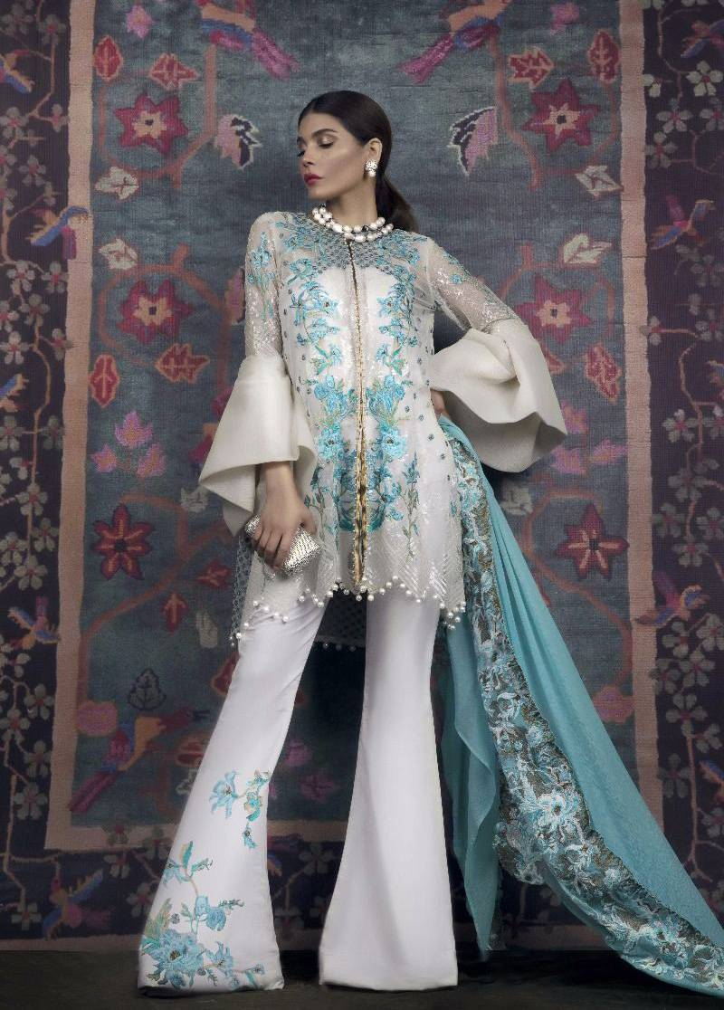 Sana Safinaz Embroidered Chiffon Unstitched 3 Piece Suit SS17L 2B