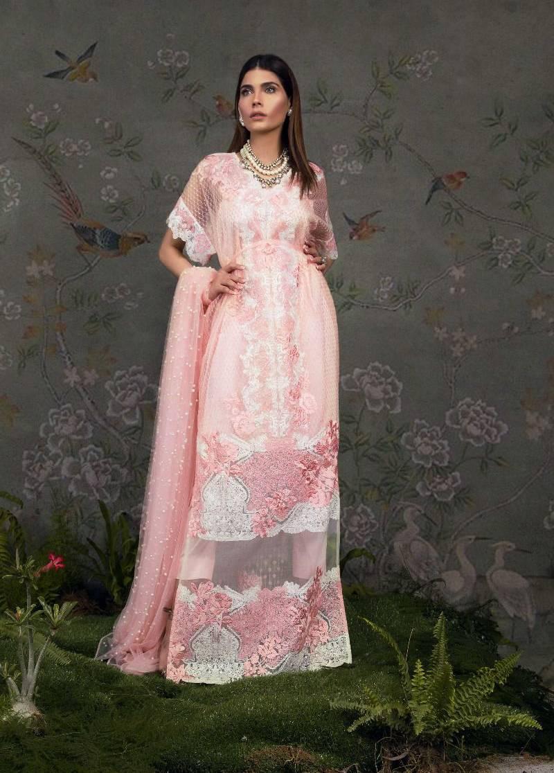 Sana Safinaz Embroidered Chiffon Unstitched 3 Piece Suit SS17L 3A