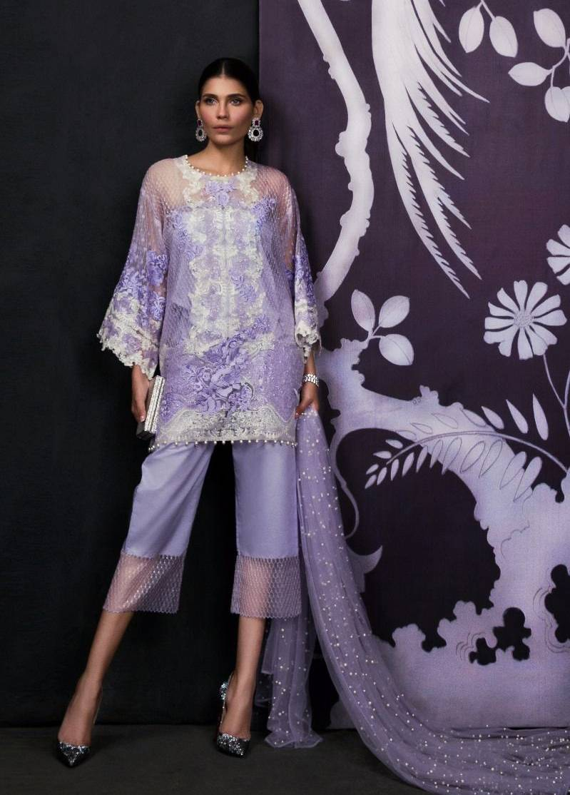 Sana Safinaz Embroidered Chiffon Unstitched 3 Piece Suit SS17L 3B
